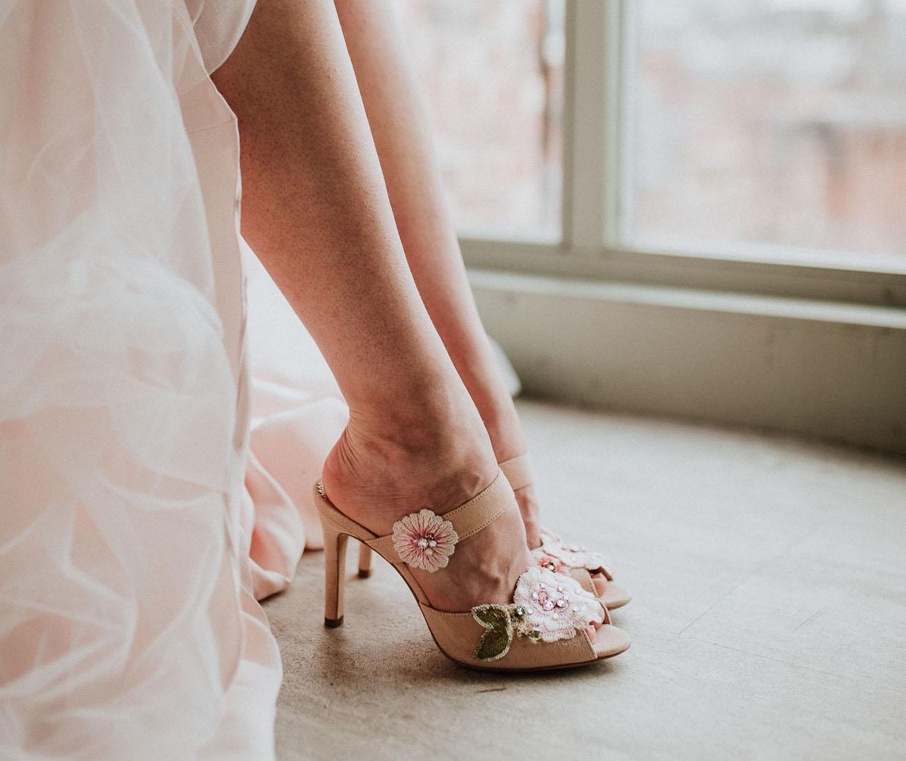floral bridal heels