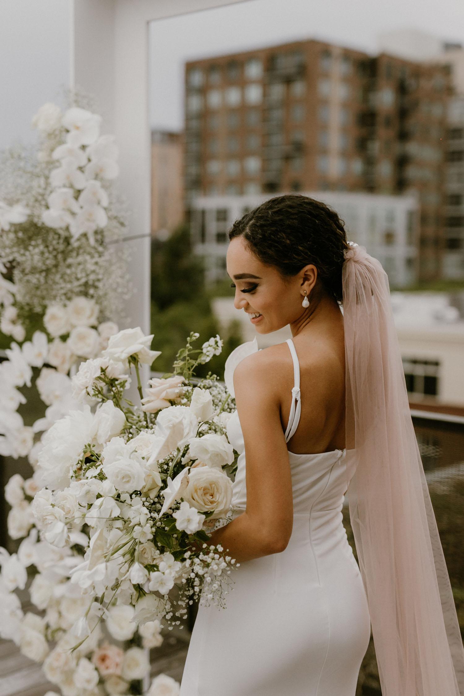 blush wedding veil