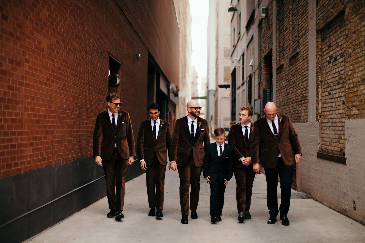 brown suit groomsmen