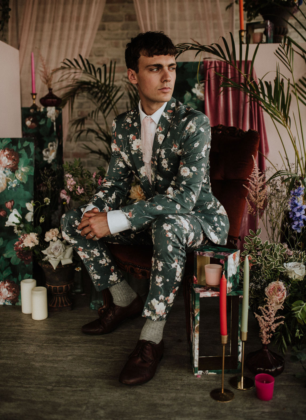 green floral grooms suit
