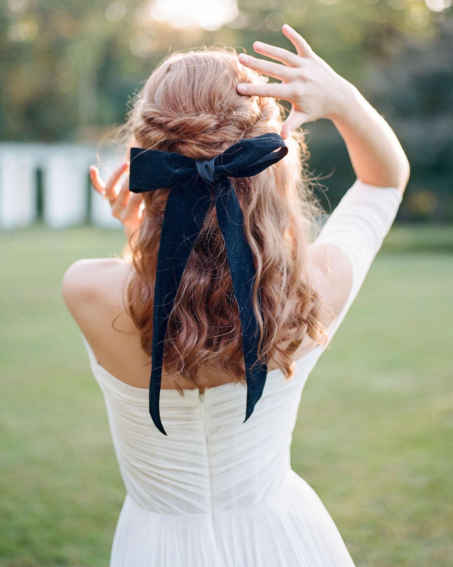 Black Velvet Bridal Bow