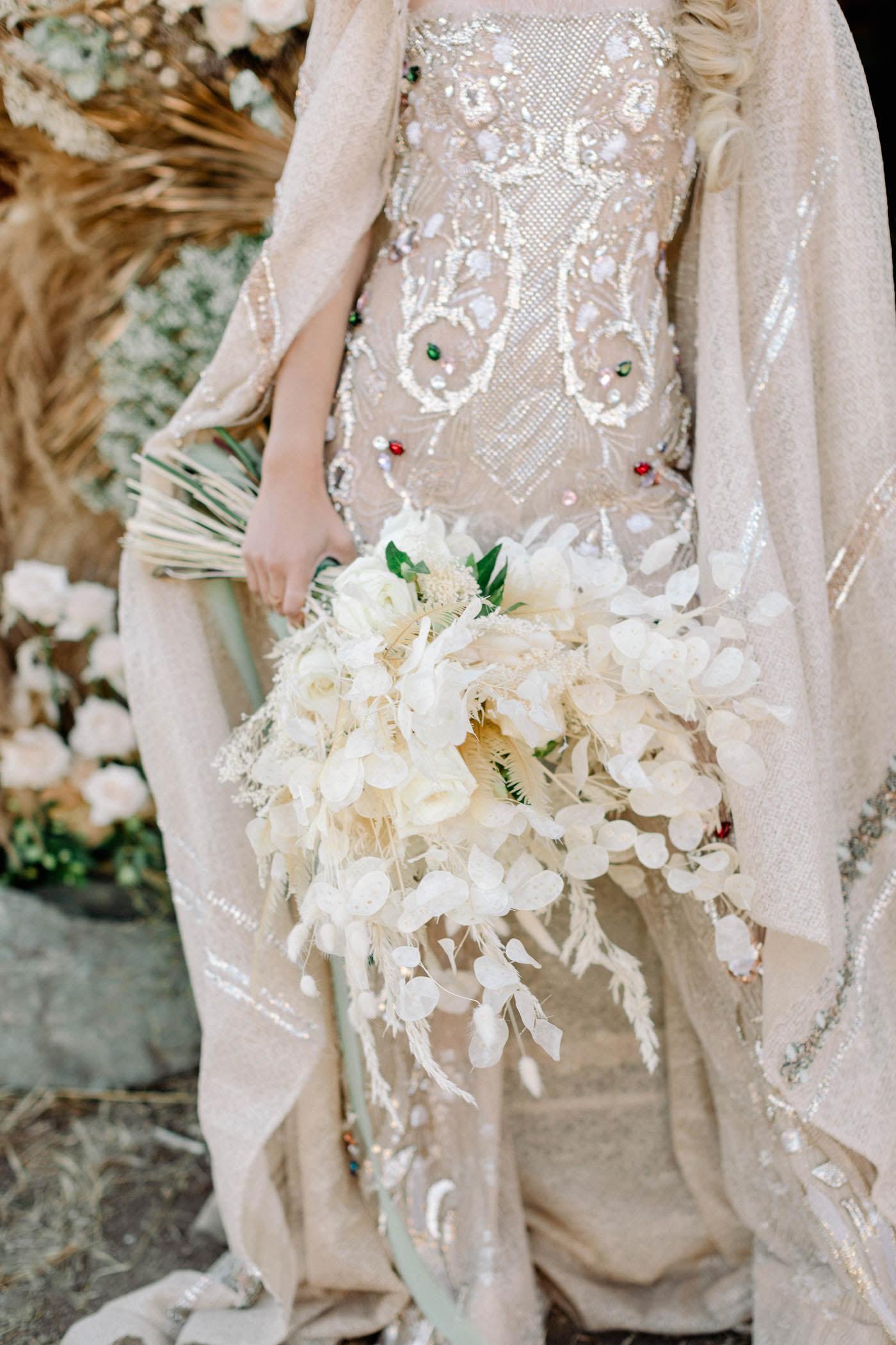 white floral bridal bouquet