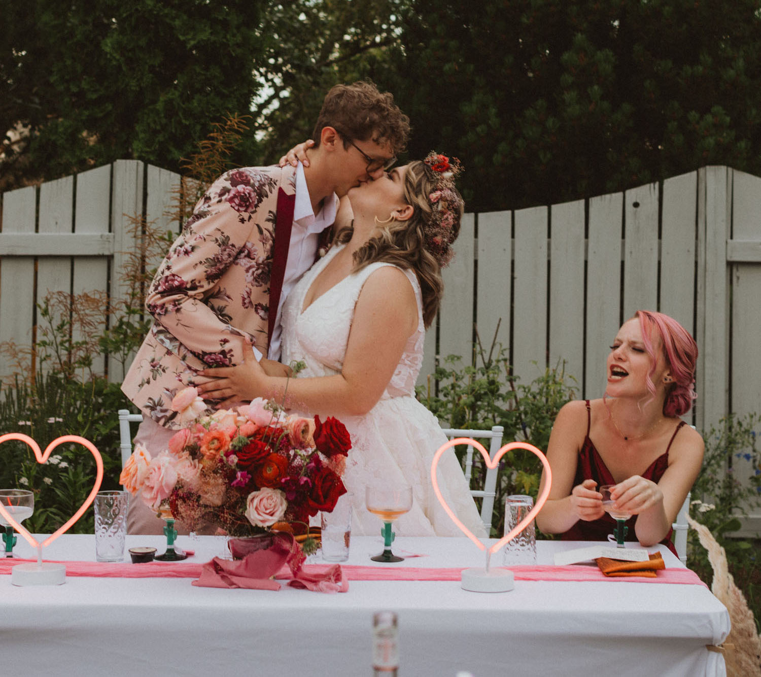 pink and red backyard wedding