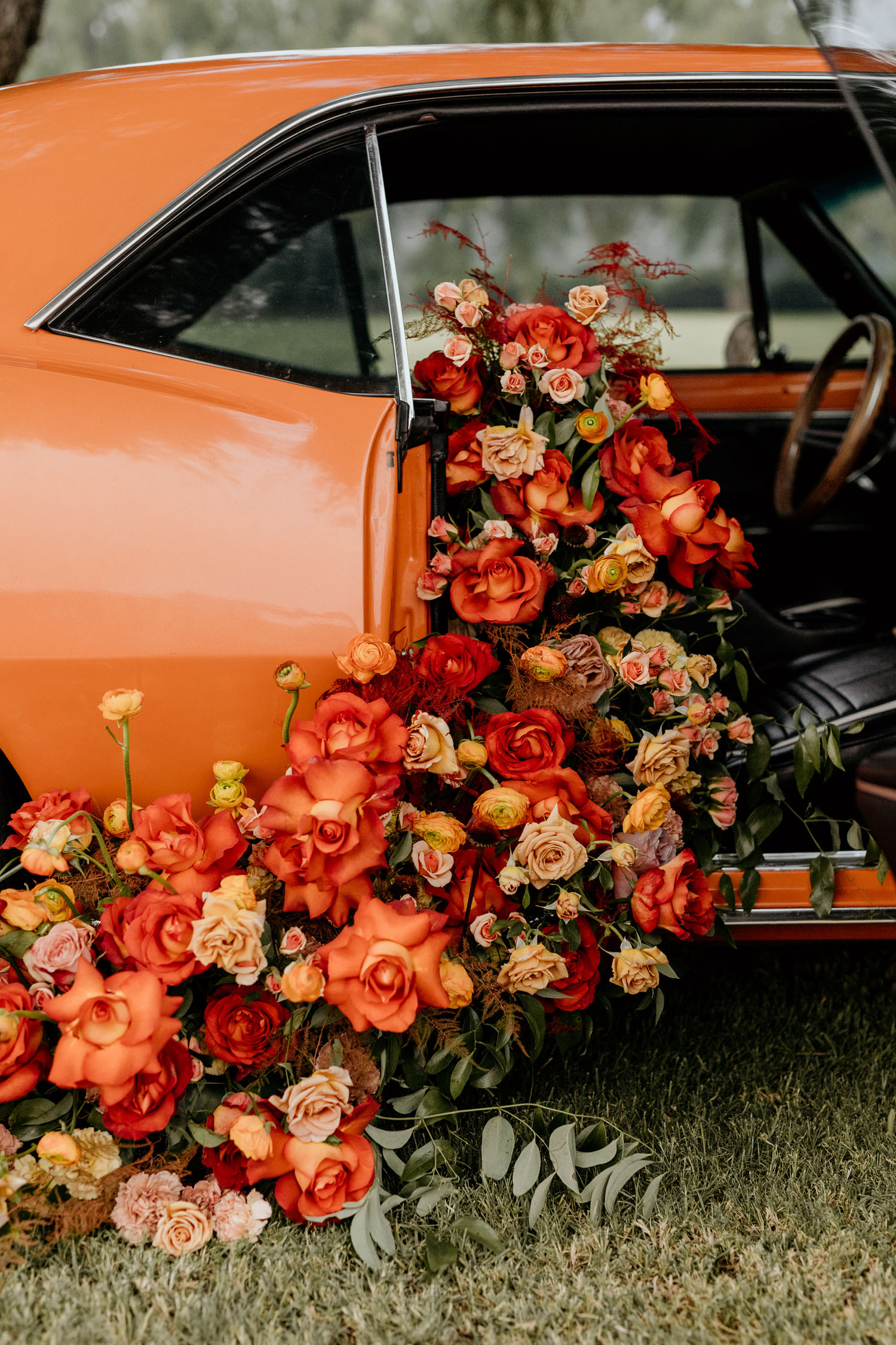 Vintage car with flowers