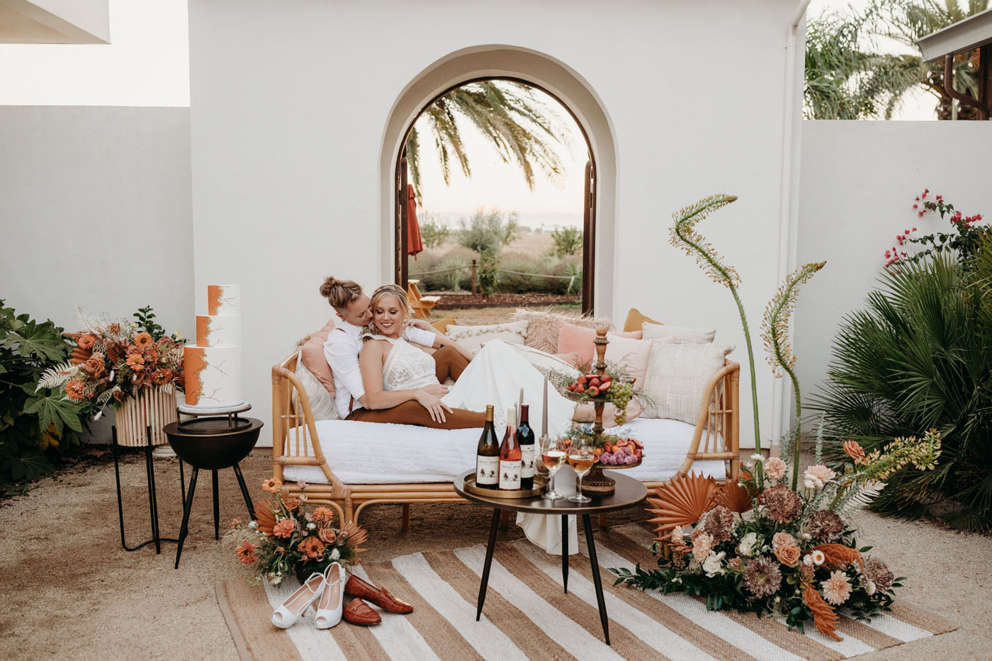 Modern desert yet Cal wedding inspiration