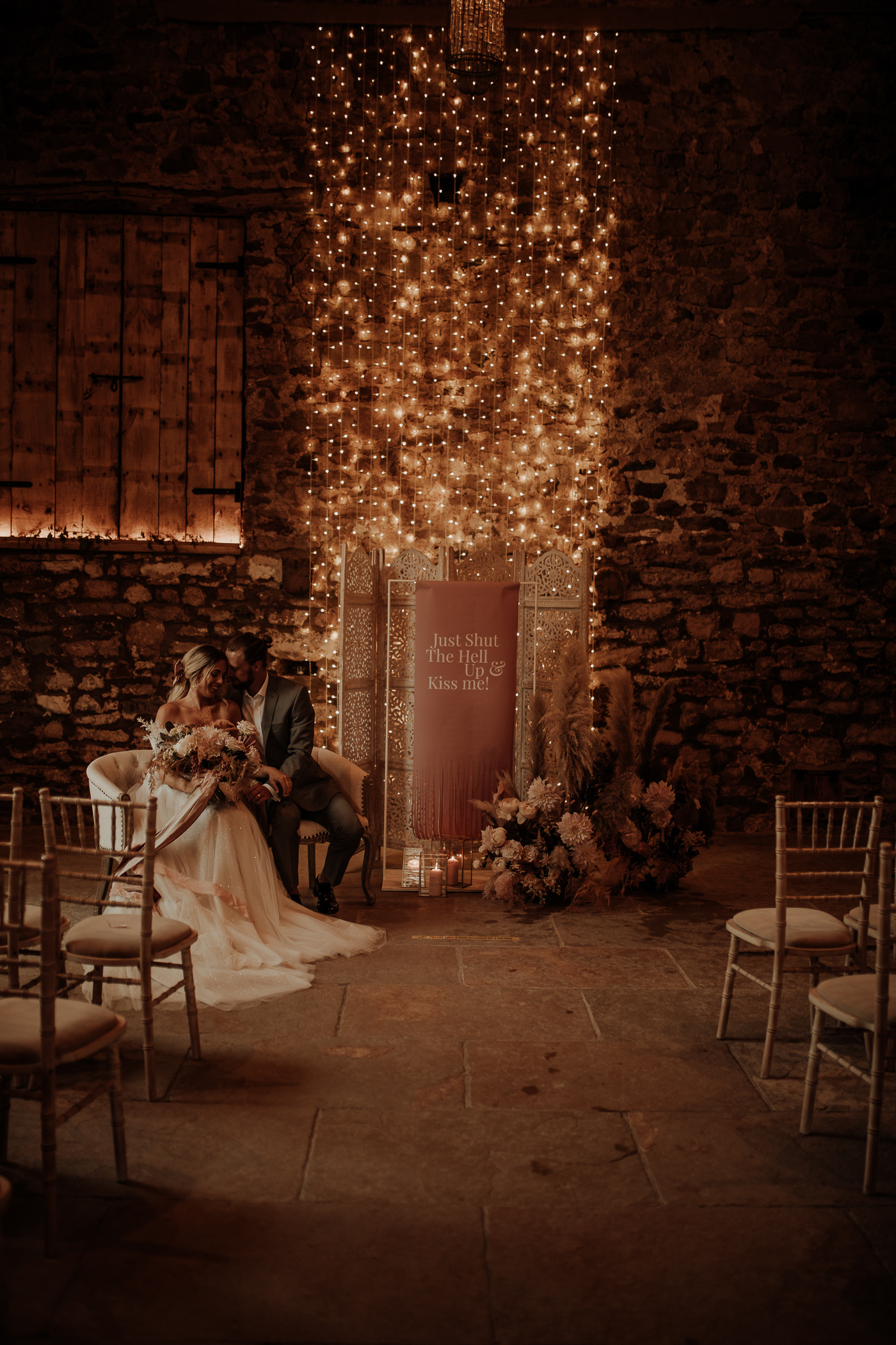 Fairy lights ceremony decor