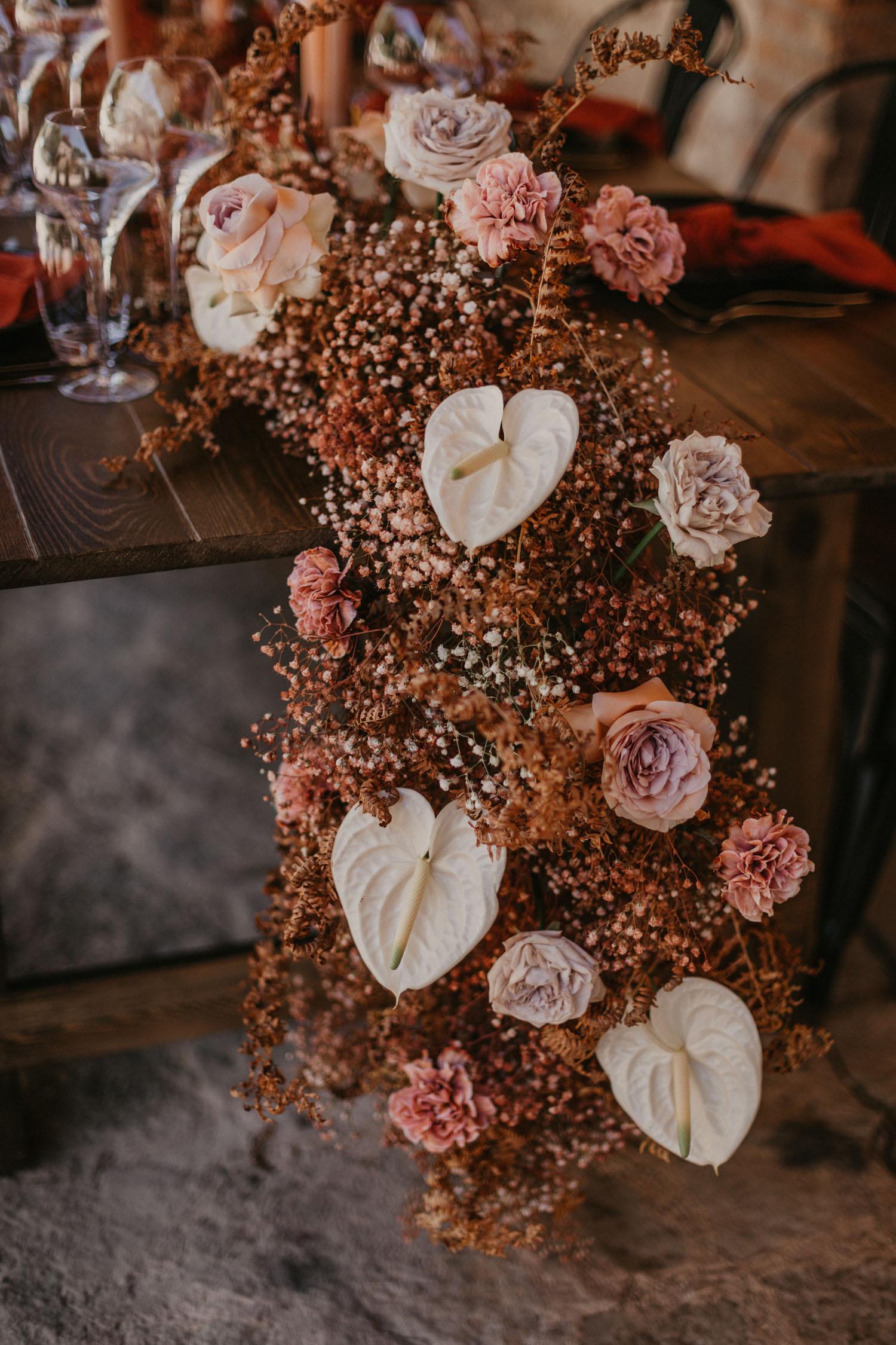 Trockenblumen Tischläufer