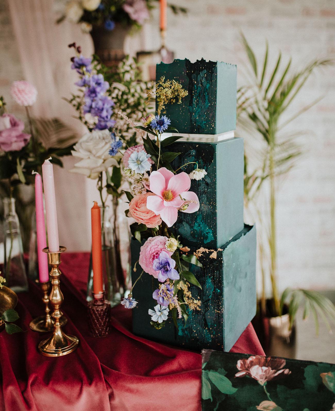 green floral wedding cak