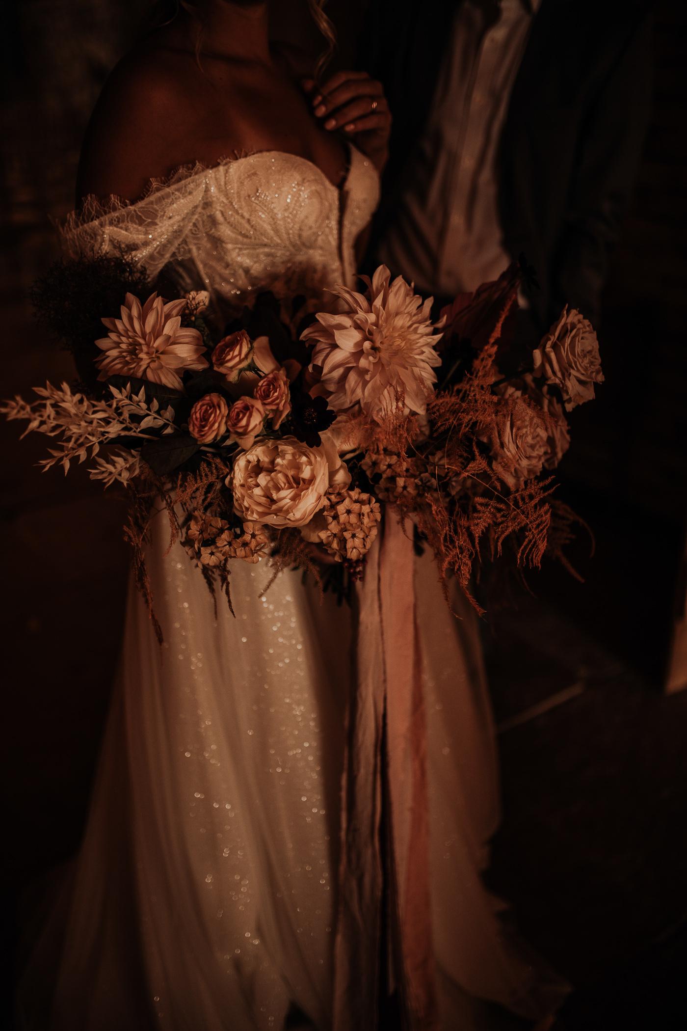 blush bouquet of dahlias