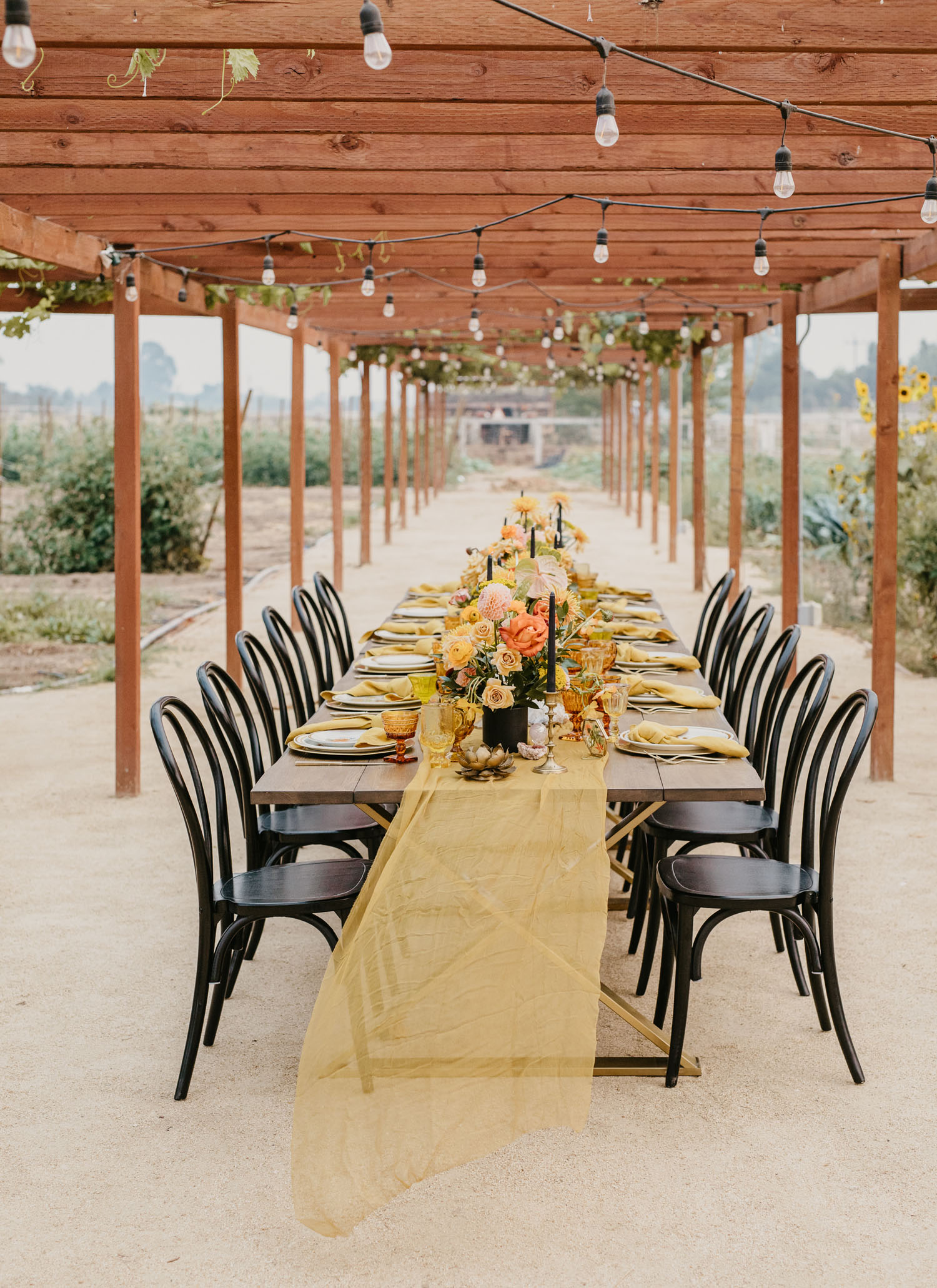 intimate wedding reception table landscape