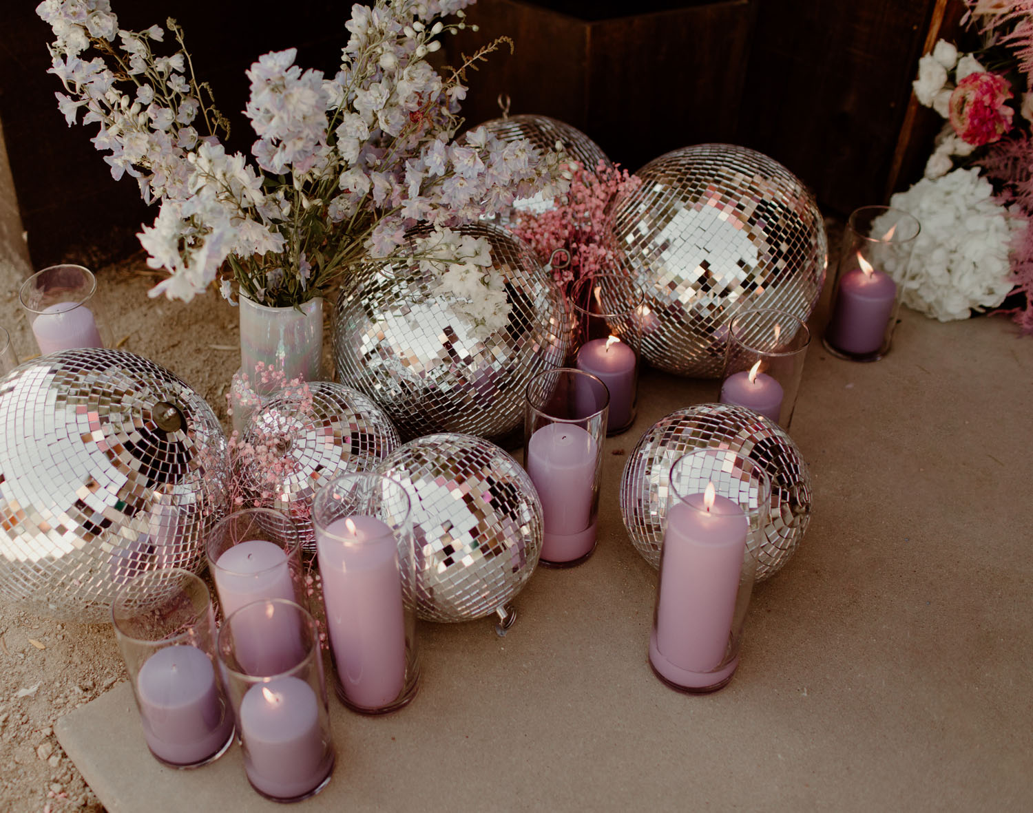 wedding disco ball decor
