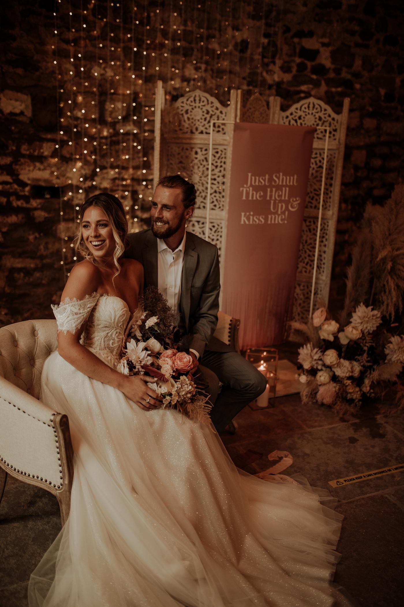 Romantic blush pink barn wedding