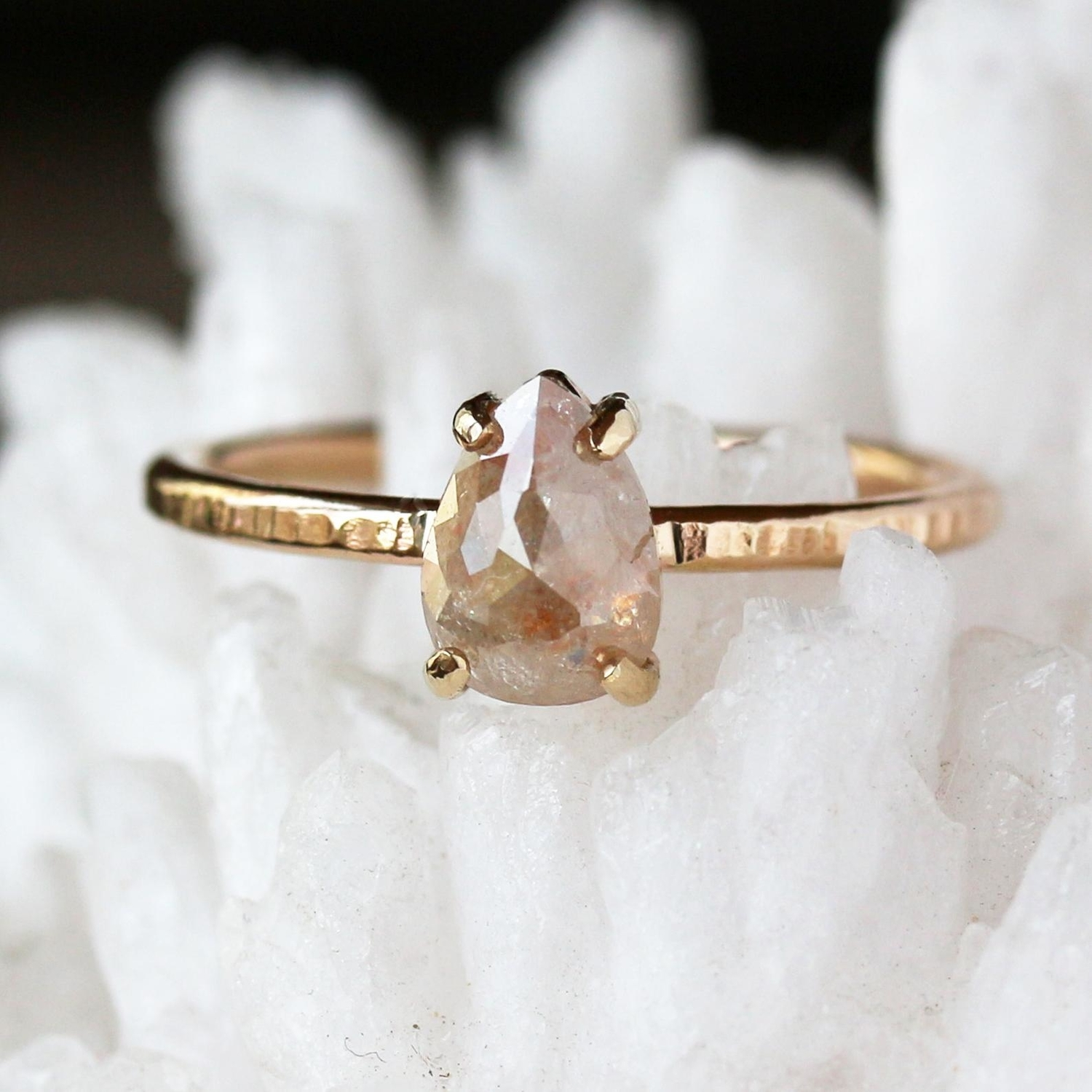 Pink pear shaped Etsy engagement ring