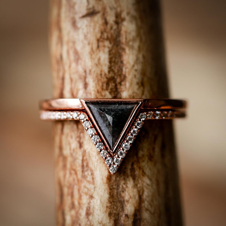 Black Triangle Etsy Engagement Ring