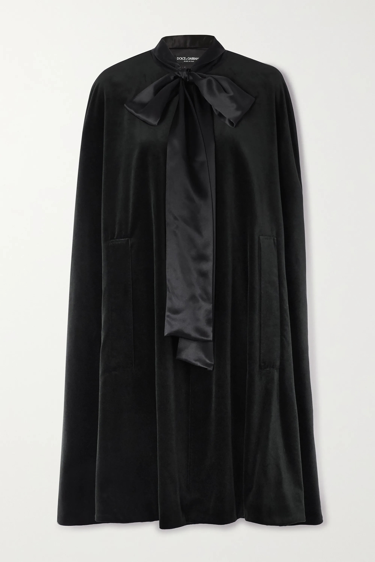 black cape with bow