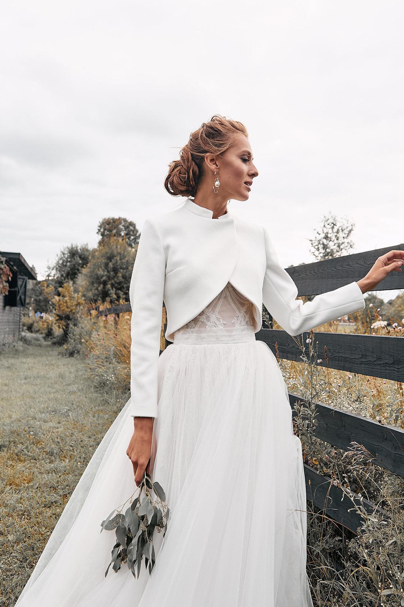 cropped bridal jacket