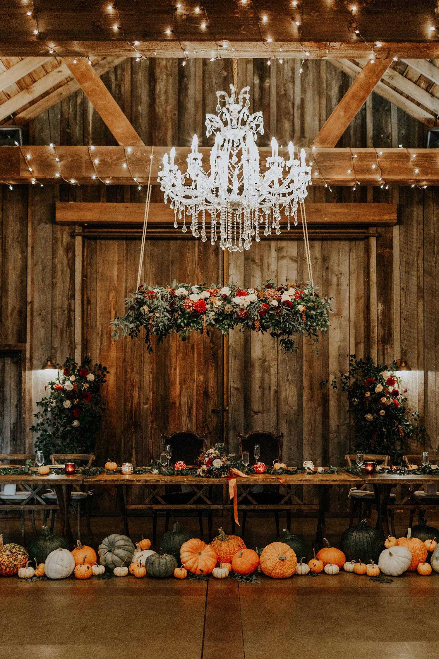 wedding reception pumpkins