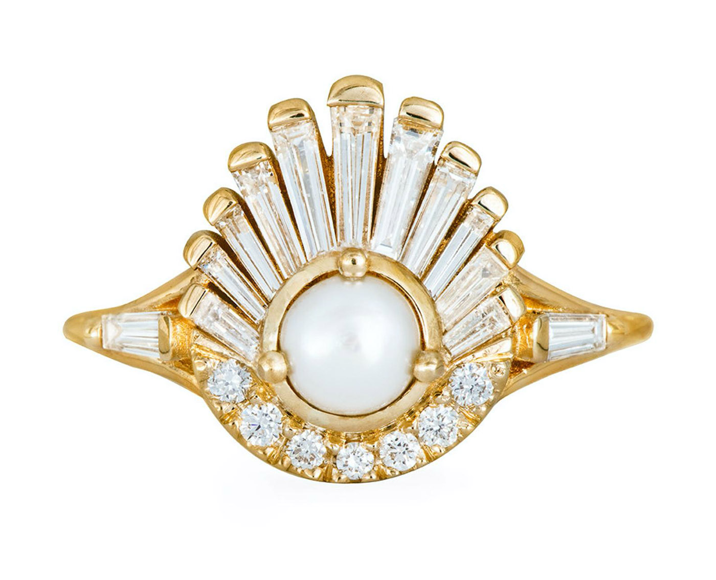 Diamond and Pearl Engagement Ring with a Baguette Diamond Shell Ring