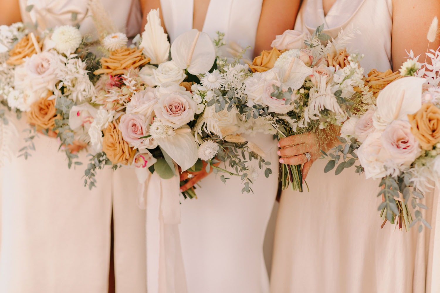 white pink bouquets