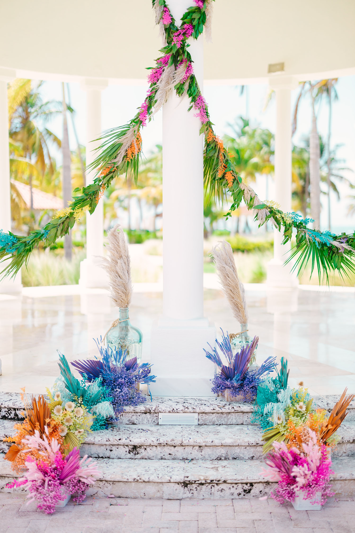 dried floral rainbow backdrop