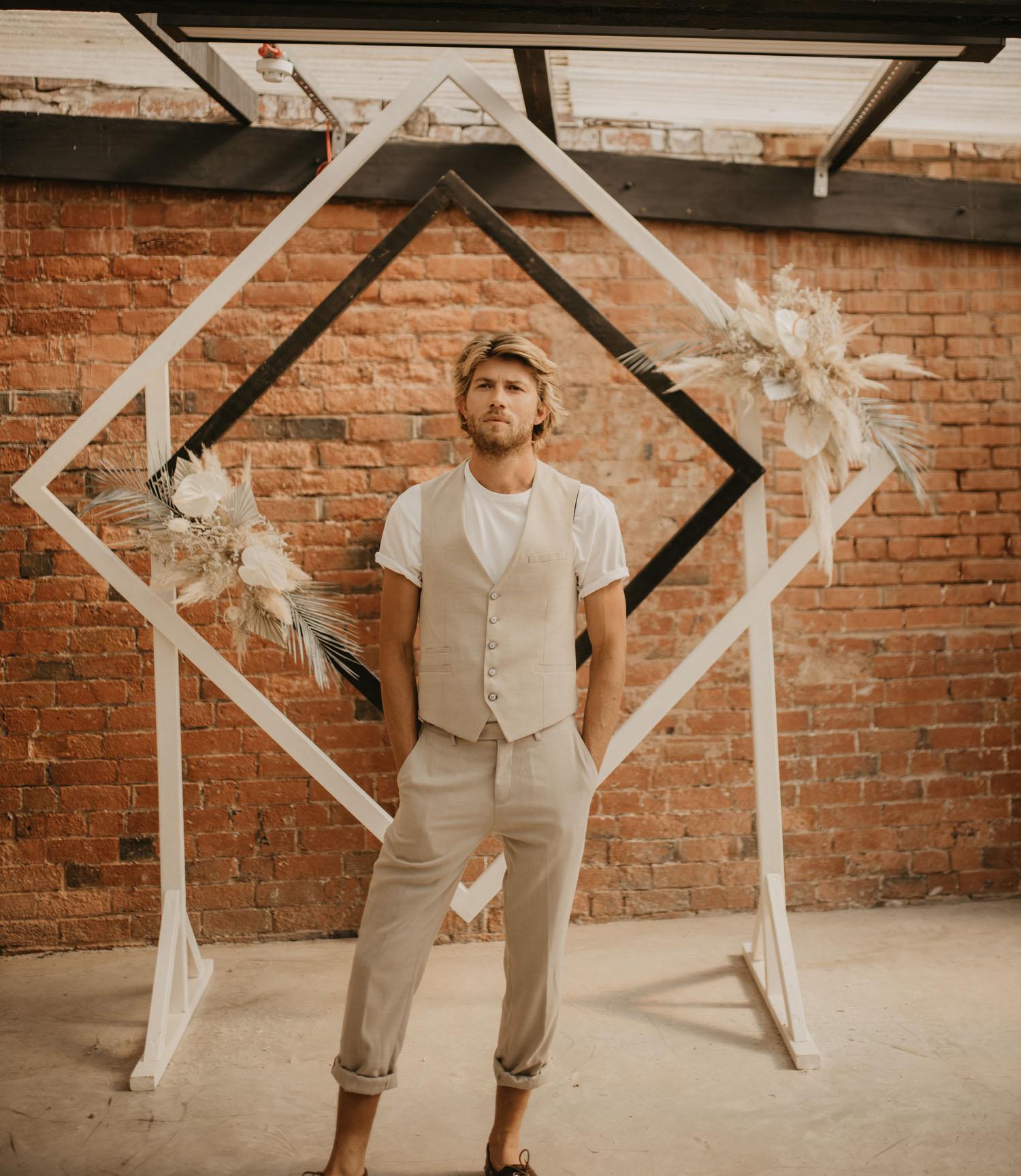 tan grooms vest attire