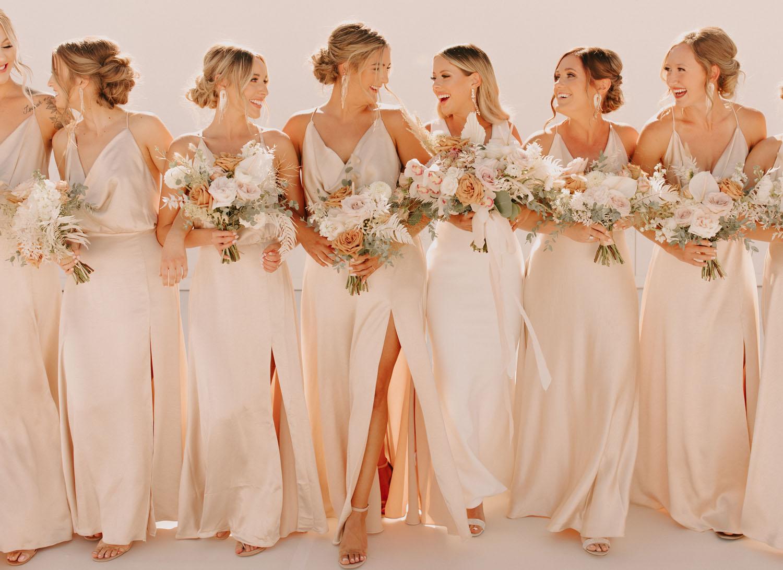 bridesmaids slip dresses