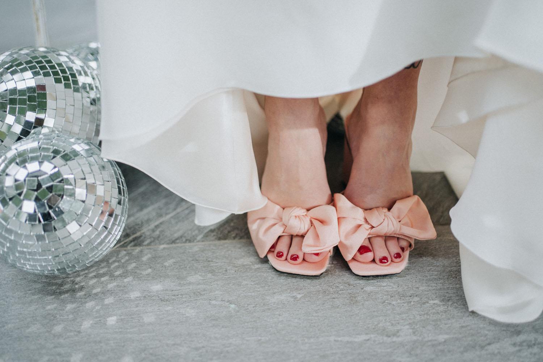 Peach bow heels