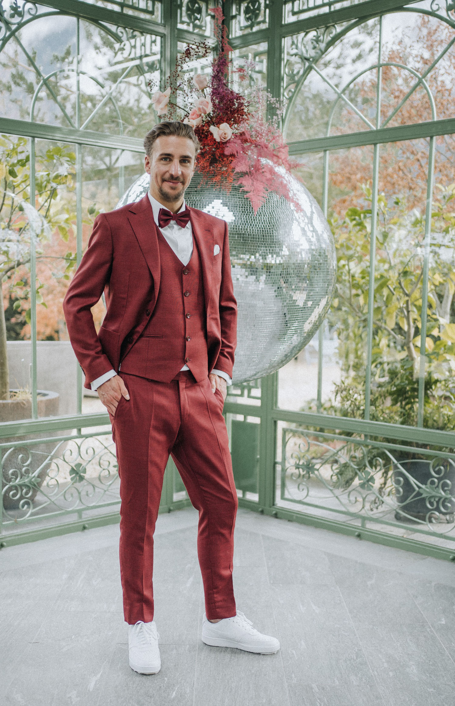 red grooms suit