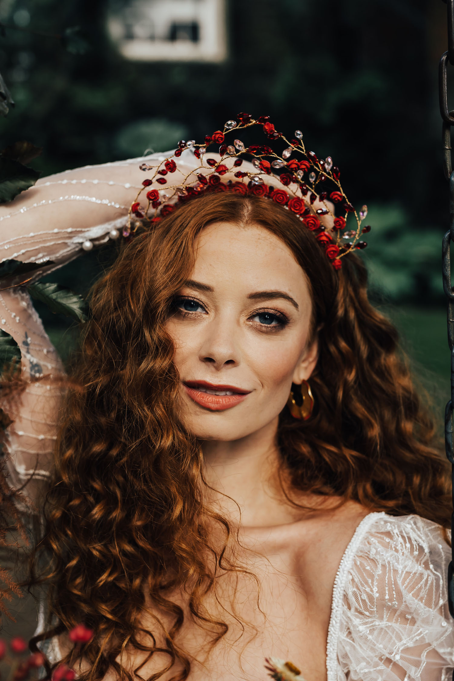 red bridal crown