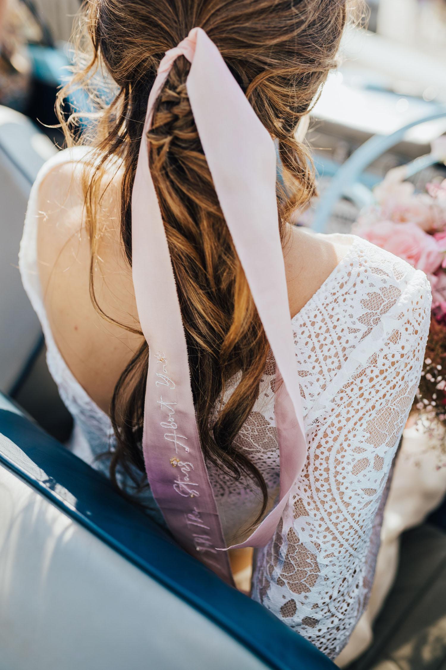 ruban de mariée brodé