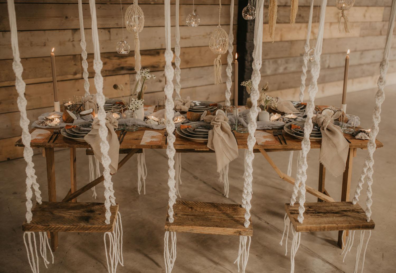 hanging macrame seating table