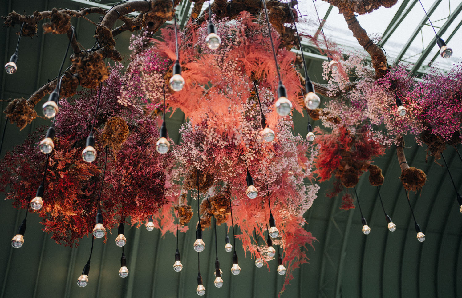 painted baby's breath installation