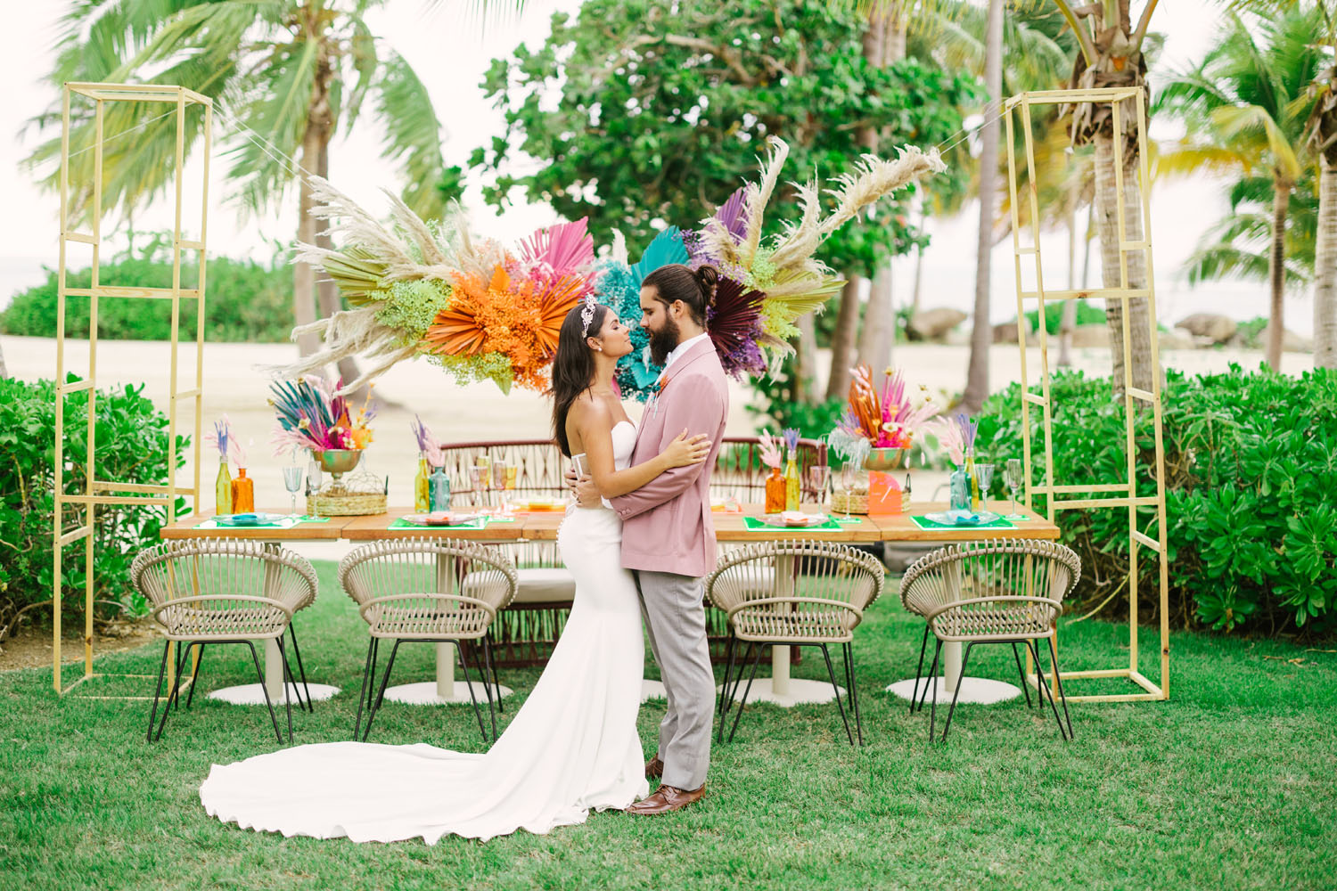 colorful small wedding reception