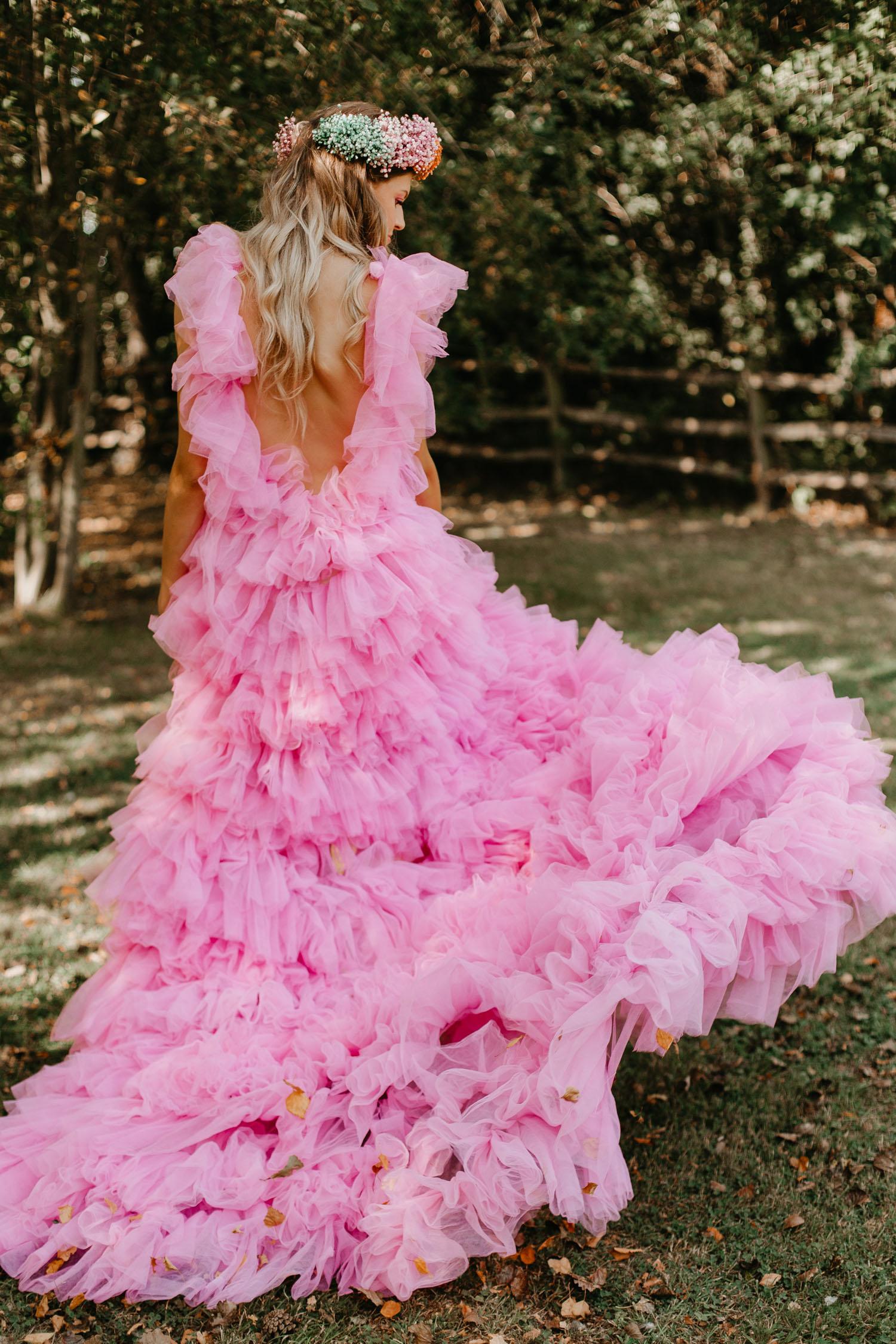 hot pink tulle wedding dress