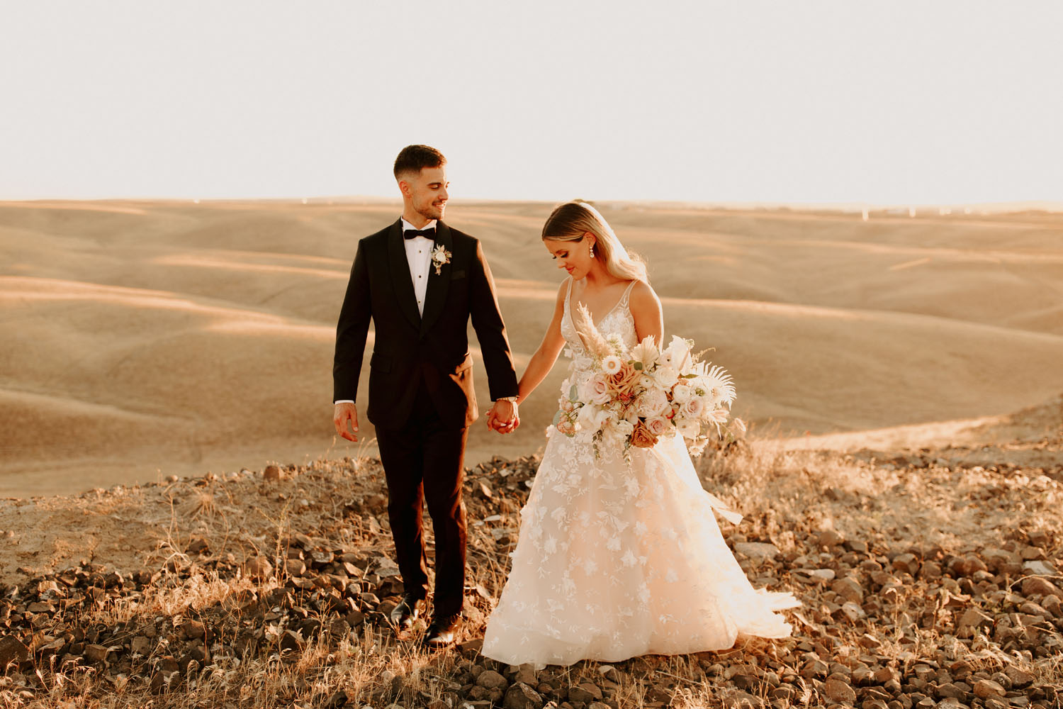 golden hour newlywed portraits