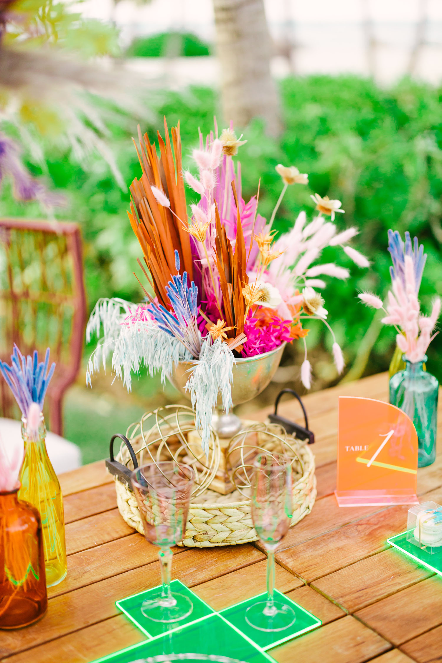 colorful floral tablescape