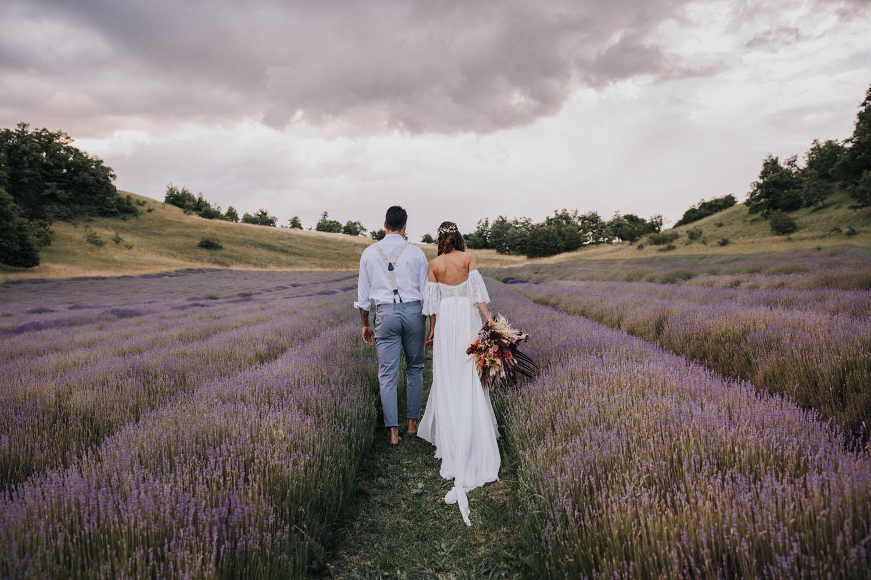 Lavender field elopement