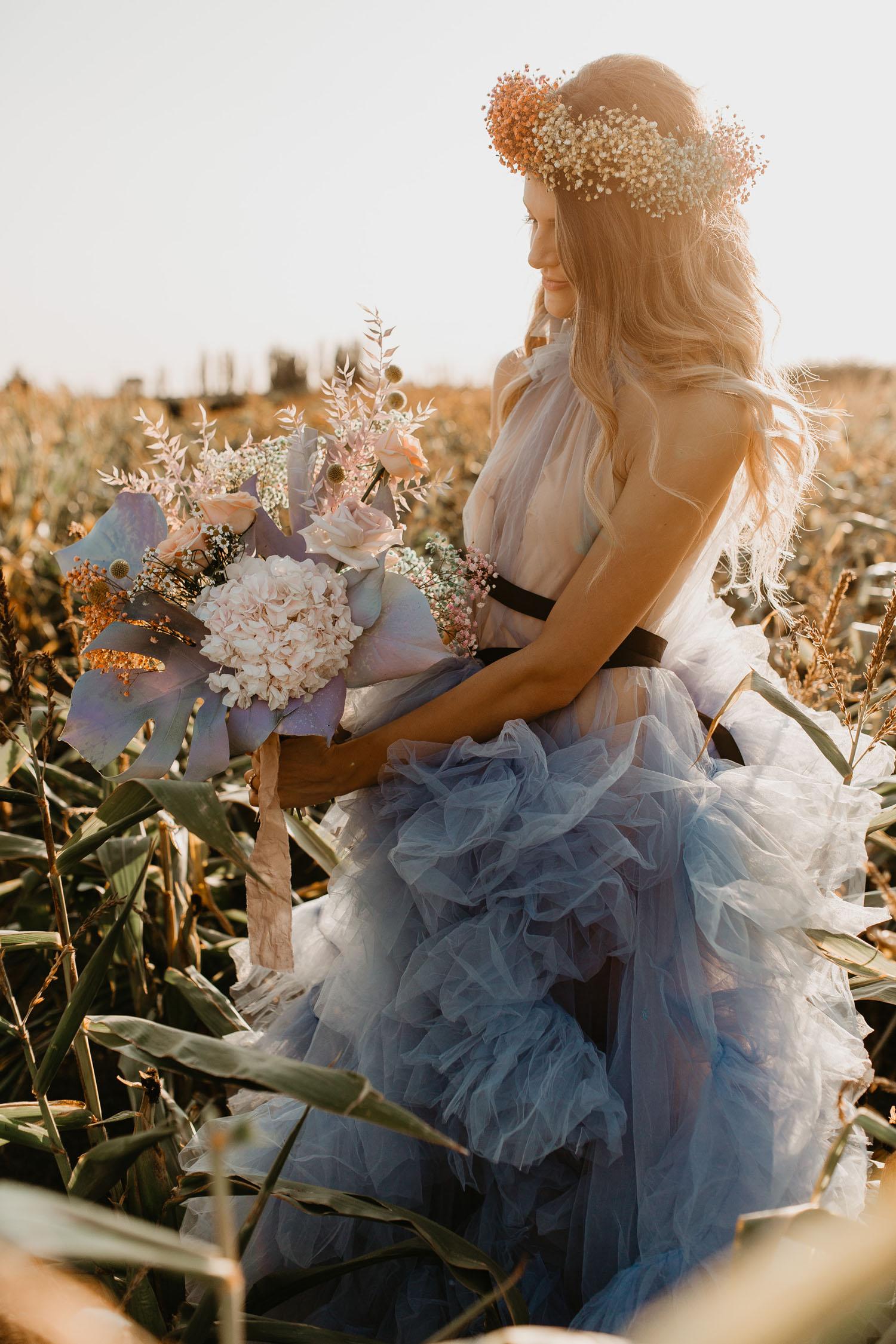 blue boho wedding bouquet