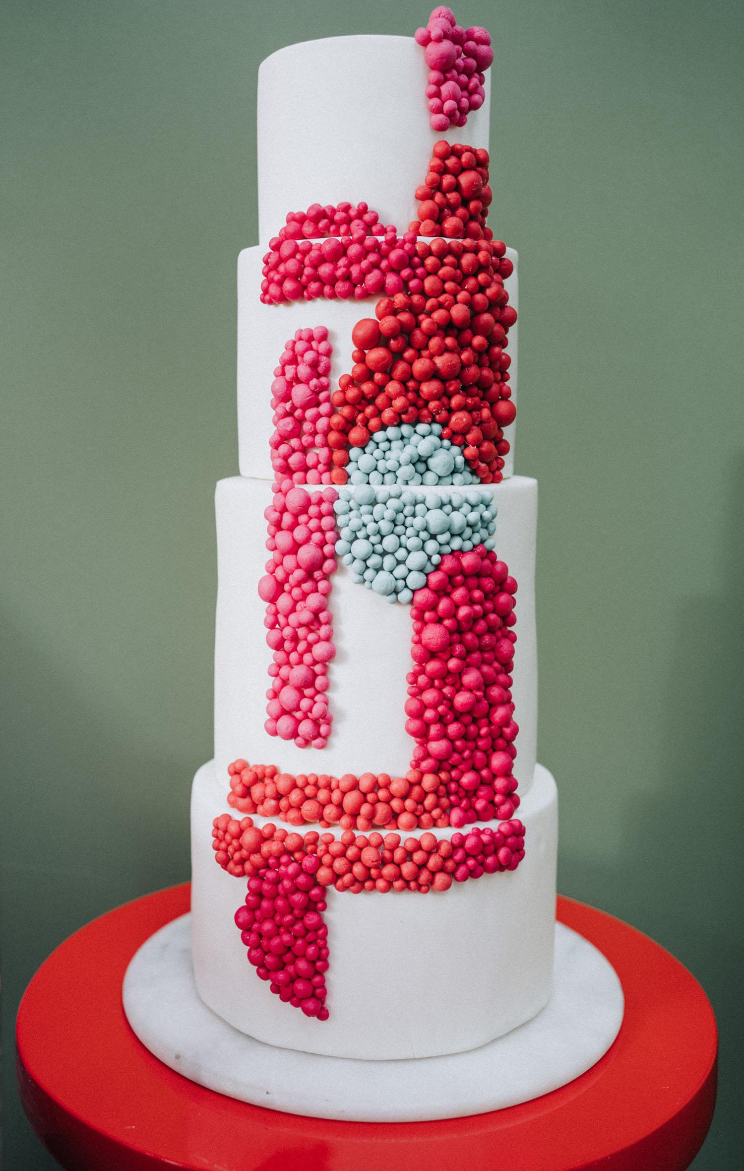 modern red dot cake