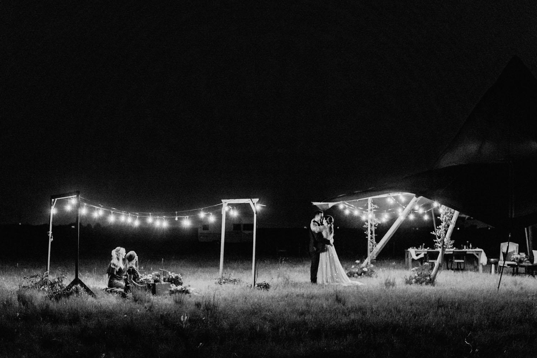 micro wedding reception string lights