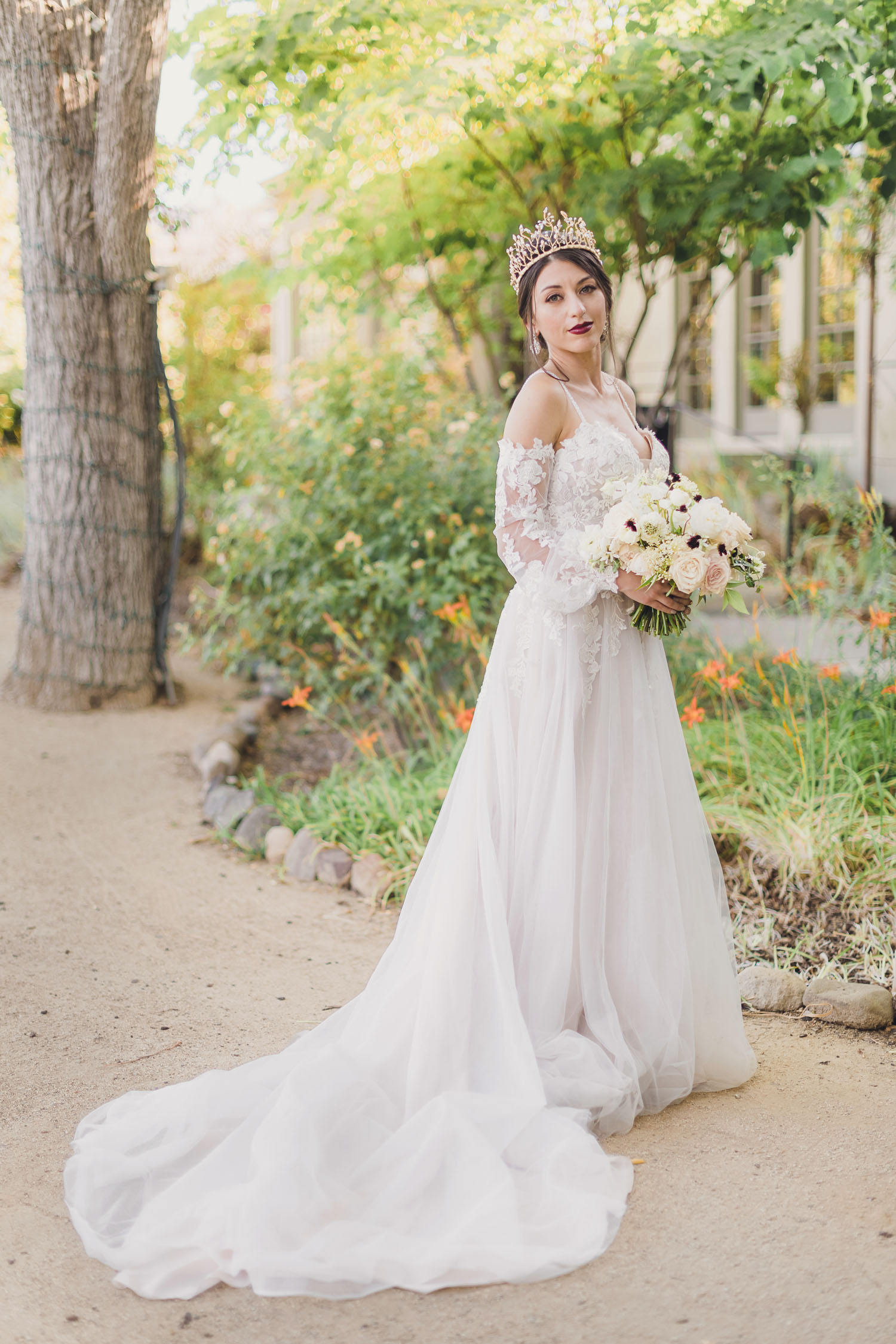 white off the sleeve wedding dress