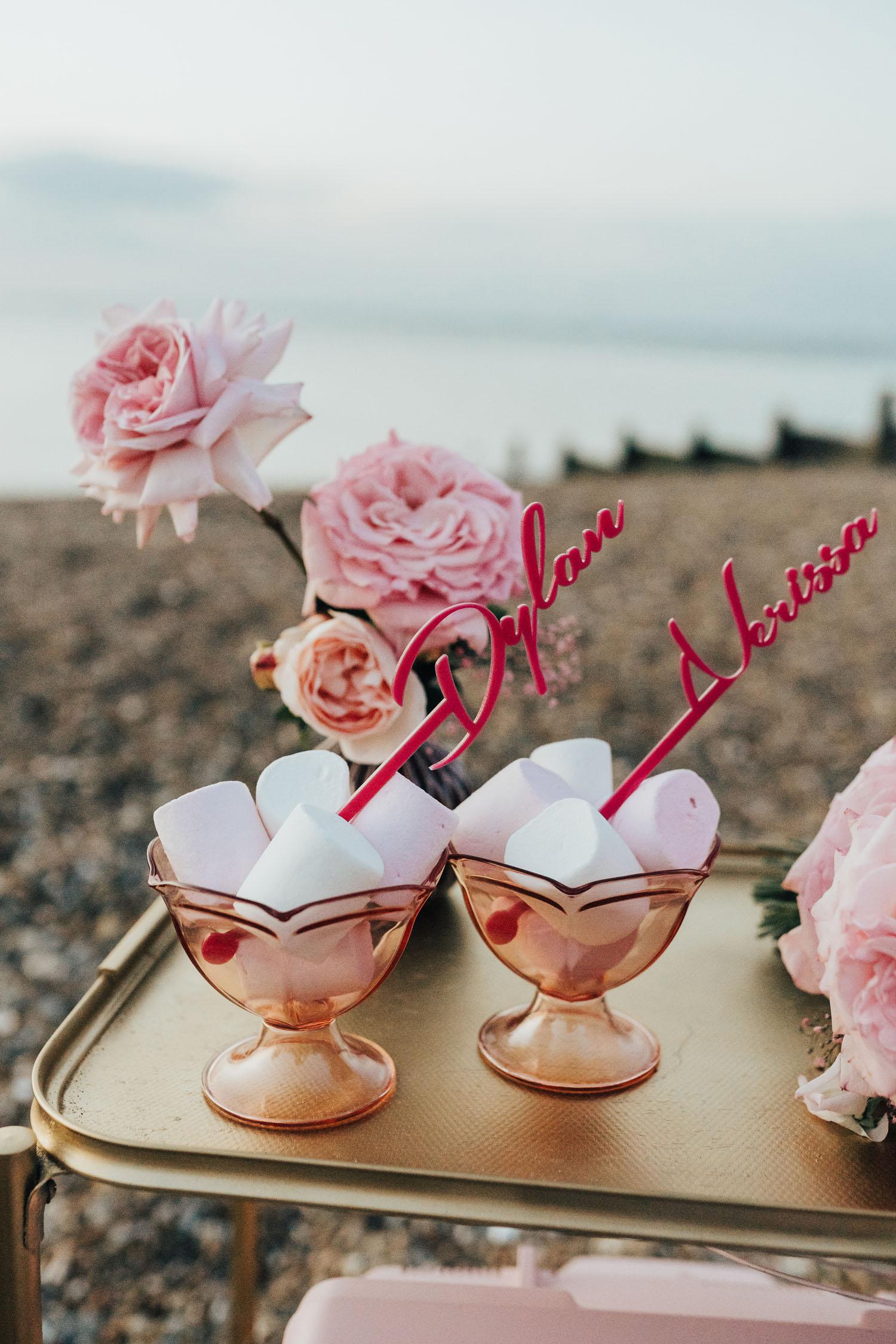 Inspiration de fugue rose au bord de la mer