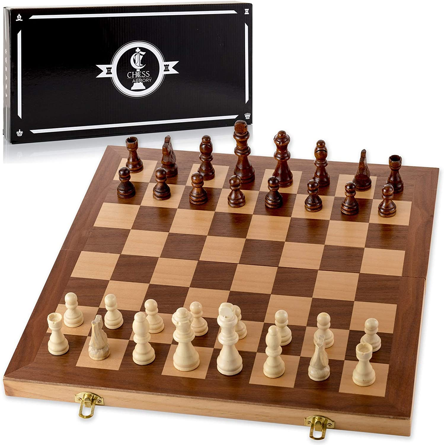 Classic Wooden Chess Board and Pieces