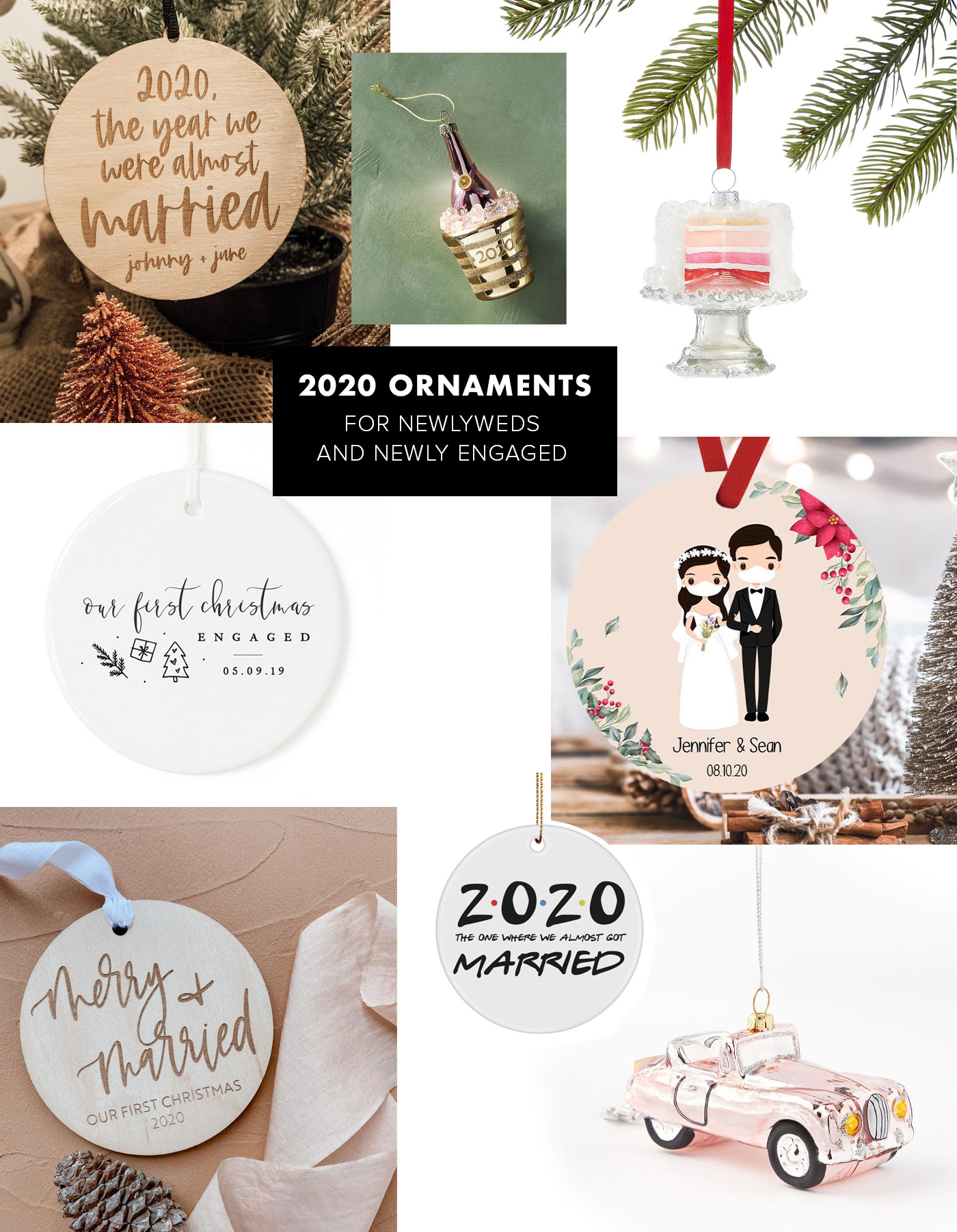 newlywed and engaged christmas ornaments