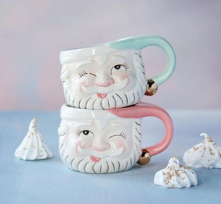 pink santa mug