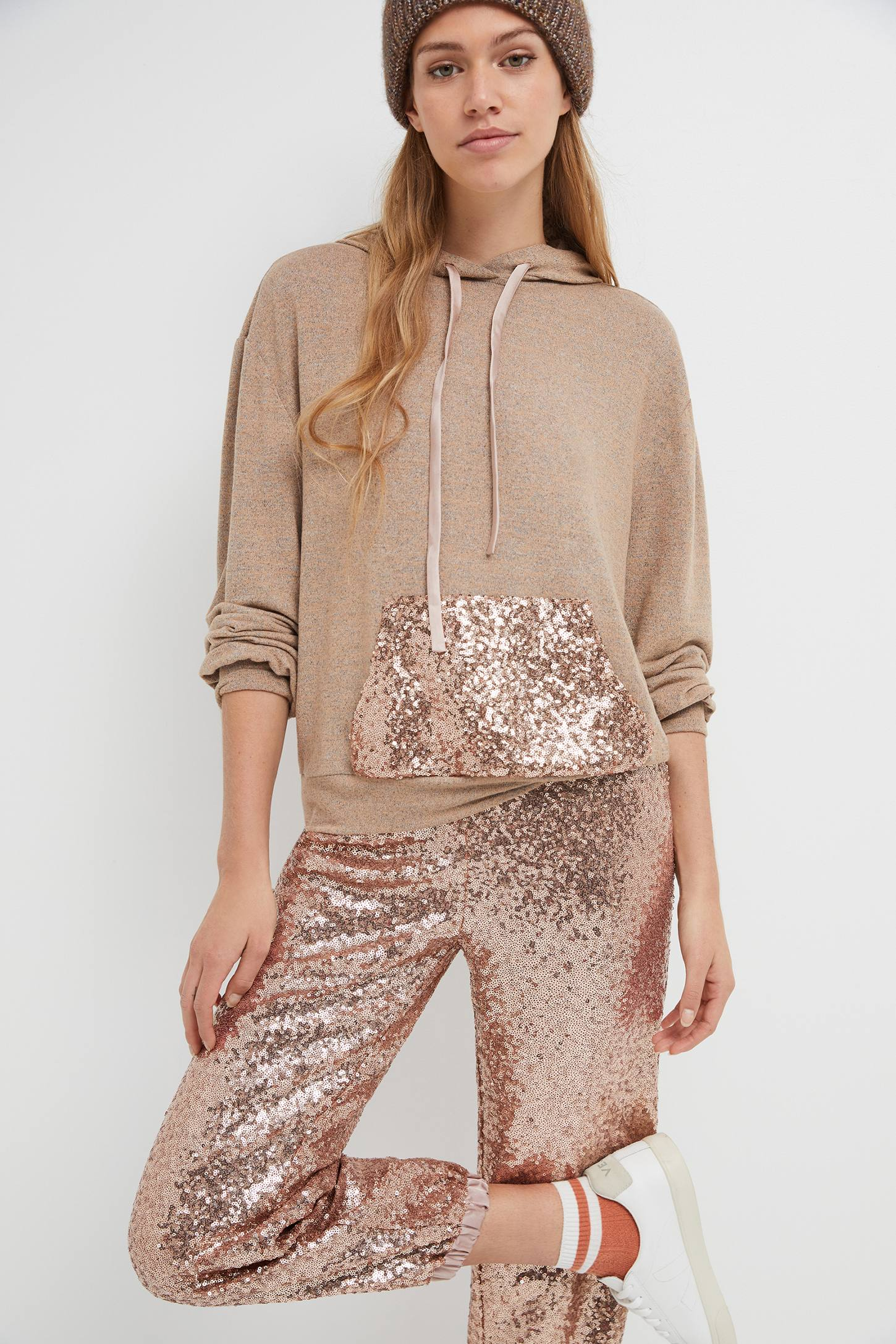 sequin tracksuit champagne