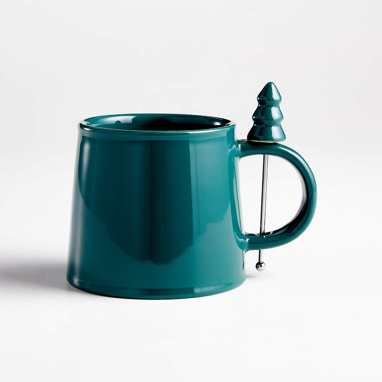 Green Mug With Christmas Tree Stir Stick