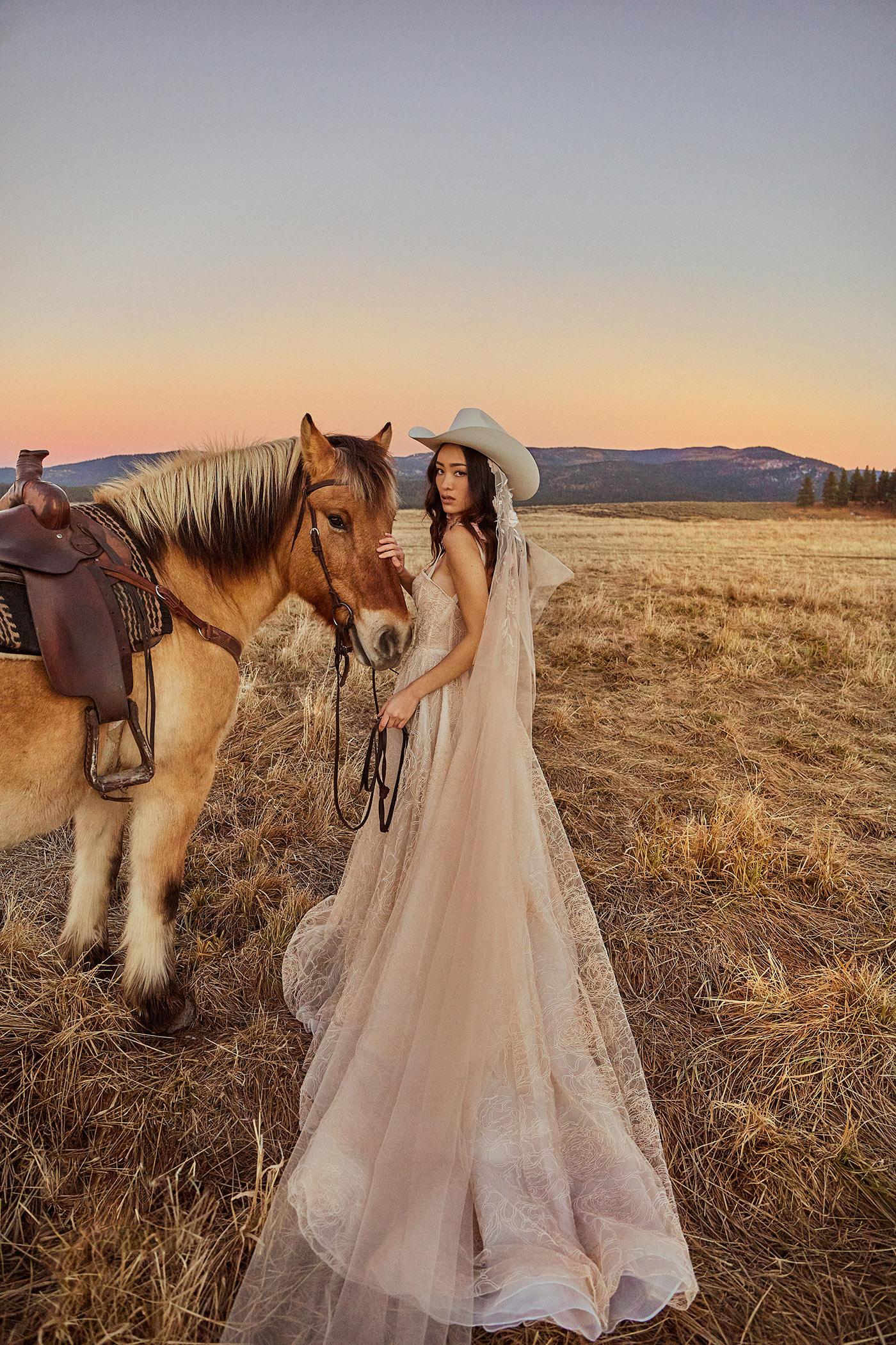 Tara Lauren Wedding Dress with horse