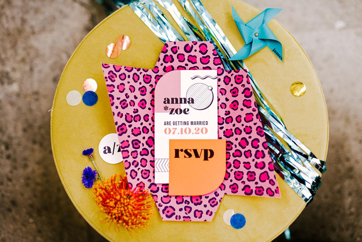 colorful wedding invitation