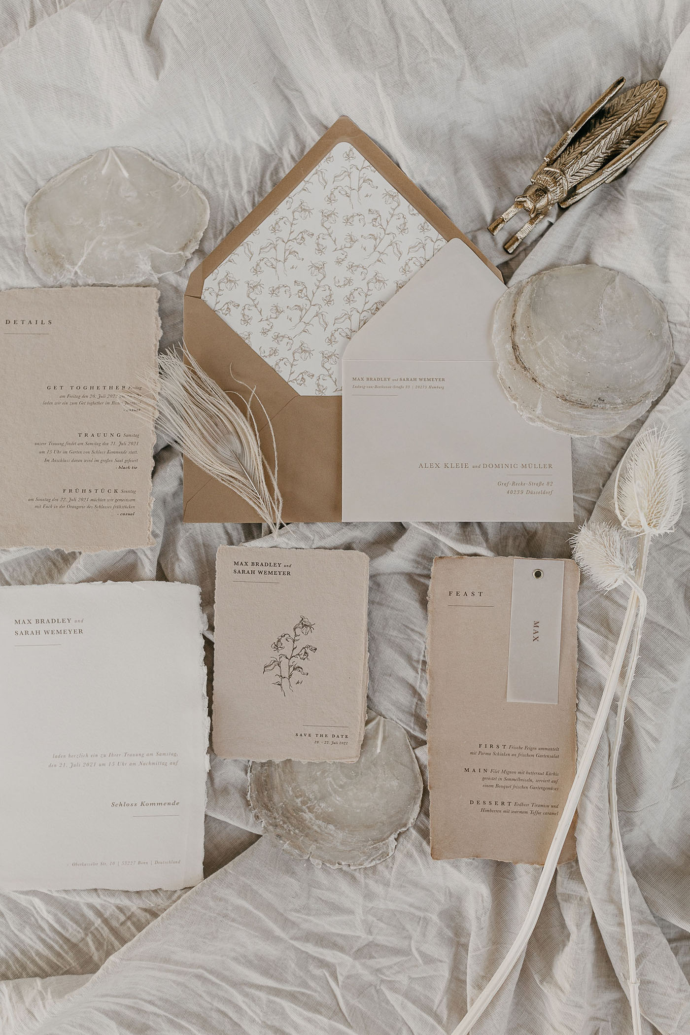 neutral wedding invitation
